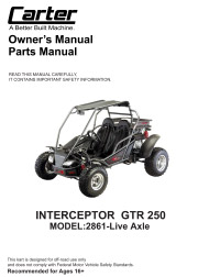 Carter Brothers Interceptor GTR 250 Live Axle User / Parts Manual
