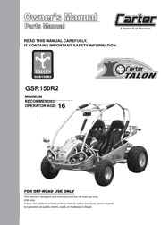 Carter Talon GSR 150 Parts / User Manual