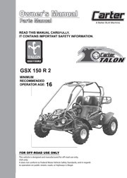 Carter Talon GSX 150 Parts / User Manual